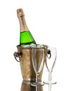 Champagne Bottle In Cooler And Two Champagne Glasses Stock Image - 72456561