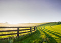 Horse Fence Snakes Its Way Over The Hill Royalty Free Stock Images - 72456939