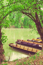 Wooden Boats On The Tisza &x28;Tisa&x29; River In Hungary Stock Photography - 72460032