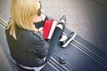 Hipster Girl With A Red Book Royalty Free Stock Photos - 72467958