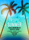 Tropic Summer Beach Party. Tropic Summer Vacation And Travel. Tropical Poster Colorful Background And Palm Exotic Island Royalty Free Stock Photography - 72486827