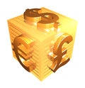 Golden Currency Symbols - 3d Render Royalty Free Stock Photos - 72487698