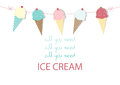 Set Of Ice Cream Cones. Design Card. Vector Illustrations Royalty Free Stock Image - 72495566