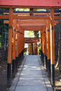 UENO, JAPAN - FEBRUARY 19, 2016 : Torii Doors Tunnel Gate To Goj Royalty Free Stock Photo - 72498645