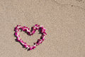 Heart Shaped Orchid Flower Garland White Sand Beach Royalty Free Stock Images - 72500059