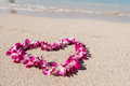 Heart Shaped Orchid Flower Garland White Sea Sand Beach Stock Images - 72500394