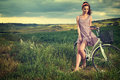 Woman With Vintage Bike Outdoor, Summer Tuscany Royalty Free Stock Photography - 72505127