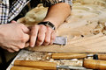 Carvers Hands Work With Chisel In Workshop Royalty Free Stock Image - 72513296