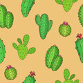 Cactus Graphic Art Green Color Seamless Pattern Background Illustration Stock Photography - 72523742