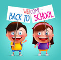 Boy And Girl Student Vector Character With Happy Smile Holding Placard Royalty Free Stock Photo - 72526925