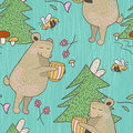 Bear And Bee Seamless Pattern Stock Images - 72528614