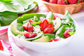 Summer Salad With Strawberry, Avocado And Spinach Stock Photography - 72534132