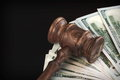 Judges Hammer Or Gavel With Money Heap On Black Background Stock Image - 72537291