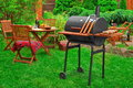 Summer Weekend BBQ Party Or Picnic Scene On The Lawn Royalty Free Stock Image - 72538096
