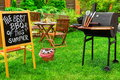 An Invitation To A Barbecue Party, Written On Blackboard Stock Image - 72538161