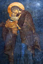 The Eleusa - Blessed Virgin Mary And Child. Ancient Painted Fres Royalty Free Stock Image - 72561726