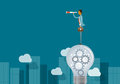 Business Vision Concept And Business Man Standing On Light Bulbs Stock Photos - 72577973