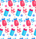 Seamless Pattern With Flat  Baby Bottles And Pacifiers Royalty Free Stock Photography - 72597507