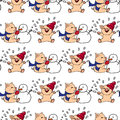 Hand-drawn Illustrations. New Year Card. Winter Card With Pigs. Children Playing With Snow. Piglets And Snowman. Seamless Pattern. Stock Photo - 72601940