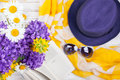 Summer Background With Flowers, Book And Womans Accessories Stock Photography - 72604752