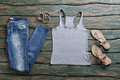 Jeans And Gray Tank Top. Royalty Free Stock Photo - 72606315
