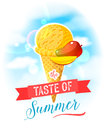 The Taste Of Summer. Bright Colorful Poster With Mango Ice Cream Cone On The Sky Background. Royalty Free Stock Images - 72610169