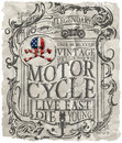 Motorcycle Label T-shirt Design With Illustration Of Custom Chop Royalty Free Stock Photos - 72619858