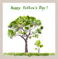 Father S Day - Big Tree Father, Small Sprout Child. Watercolor Royalty Free Stock Photo - 72625835