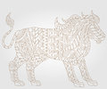 Abstract Image Of A Lion, An Illustration Of A Contour On A Light Background Royalty Free Stock Image - 72666426