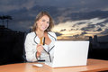 Beautiful Bussiness Woman Smiling With Her Credit In The Computer Stock Image - 72678811