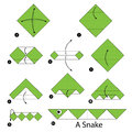 Step By Step Instructions How To Make Origami A Snake. Stock Image - 72680121