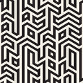 Vector Seamless Black And White Maze Lines Geometric Irregular Pattern Royalty Free Stock Photography - 72686437