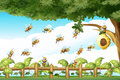 Scene With Bees Flying Around Beehive Royalty Free Stock Photos - 72690498