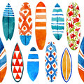 Hand Drawn Watercolor Surfboard Seamless Pattern. Stock Photos - 72691183
