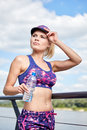 Young Sport Woman Drinking Water After Running Stock Photos - 72693873