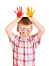 Cheerful Boy With Paint On His Face And Hands . Stock Photos - 72696343