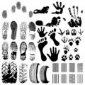 Handprints, Wheels, Footprints Stock Image - 7272611
