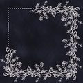 Hand Drawn Textured Floral Background In With Flowers And Leaves On The Dark Blue Chalkboard. Decorative Frame. Royalty Free Stock Images - 72717469