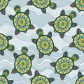 Seamless Pattern With Green Turtles In The Sea Waves. Stock Images - 72719194