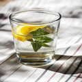 Infused Water With Oranges And Fresh Plant - Summer Mood Stock Image - 72737271