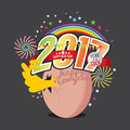 New Born Chick Celebrating 2017 With Colorful Firework. Stock Photo - 72743130