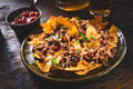 Tortilla Chips Garnished With Cilantro And Beef Stock Photo - 72752000