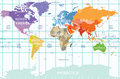 Political Map Of The World With All Continents Separated By Color, Labeled Countries And Oceans, And With Enumerated Longitudes An Stock Photo - 72753560