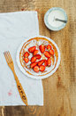 Strawberries And Whipped Cream  For Dessert. Pancakes With  Stra Stock Image - 72757801