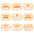 Collection Of Vintage Retro Bakery Logo  With Bread,pretze Royalty Free Stock Photography - 72772587