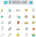 Flat Line Color Medical, Physicians, And Hospital Tool Equipment Stock Image - 72781591