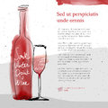 Wine Glass And Bottle, Red Watercolor Sketched Silhouette Stock Images - 72782534