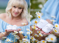A Collage Of Two Photos Of The Expectant Mother With The White Booties Royalty Free Stock Image - 72787016