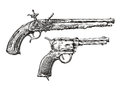 Vintage Gun. Retro Pistol, Musket. Hand-drawn Sketch Of A Revolver, Weapon, Firearm Stock Image - 72793391