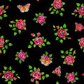 Drawn Red Roses With Peacock Butterflies Seamless Background. Flowers Illustration Front View. Handwork By Felt-tip Pens. Pattern Stock Photography - 72801652
